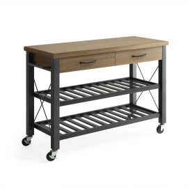 Santa Fe Kitchen Cart with Metal Shelves
